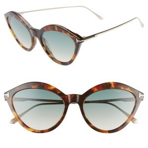 New TOM FORD Chloe Cat Eye Havana Sunglasses